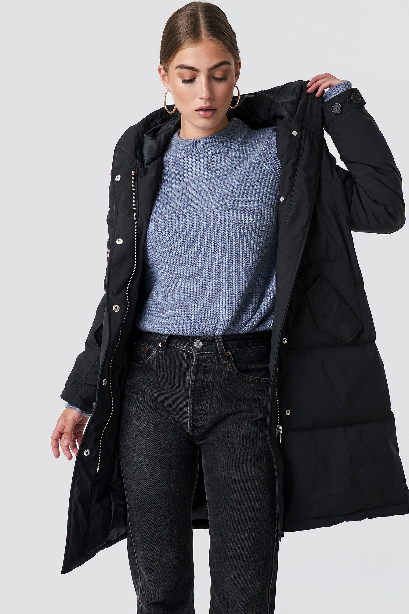 rut&circle -  Padded Hood Jacket - Black