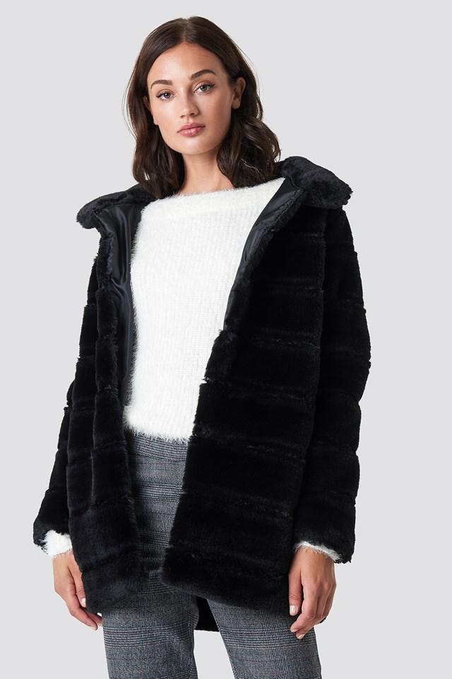 Panel Faux Fur Jacket NA-KD.COM