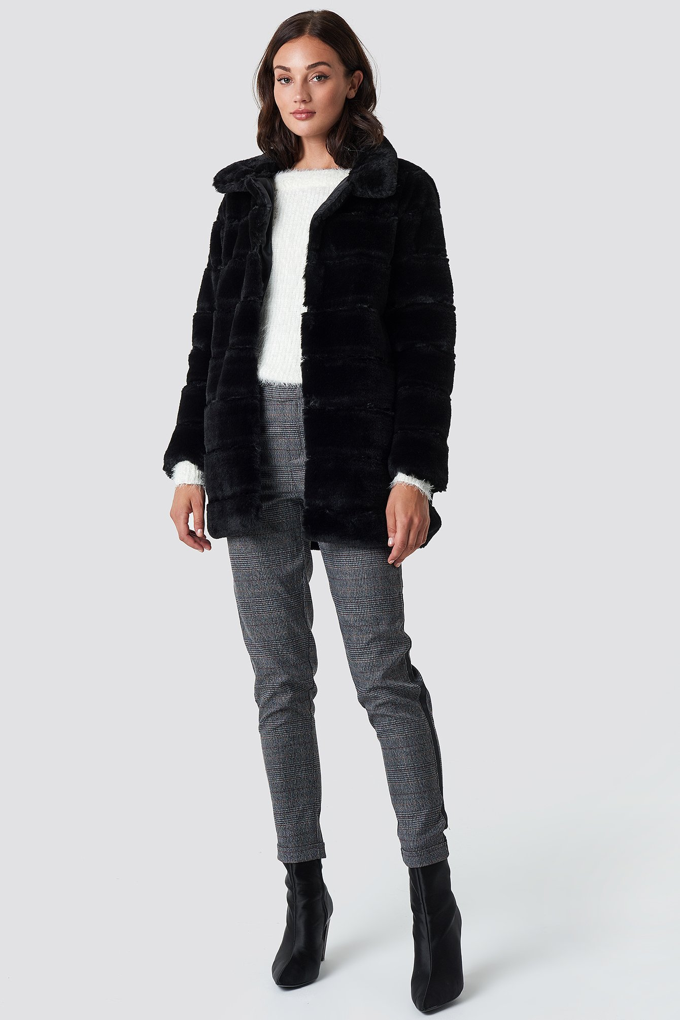 Panel Faux Fur Jacket  NA-KD.COM