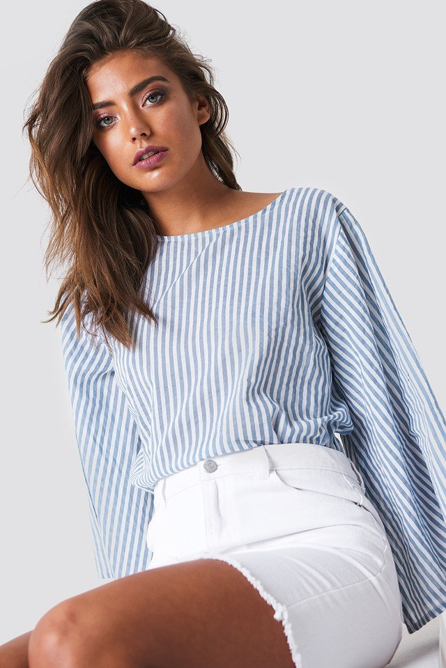 Philippa Stripe Blouse White/Blue