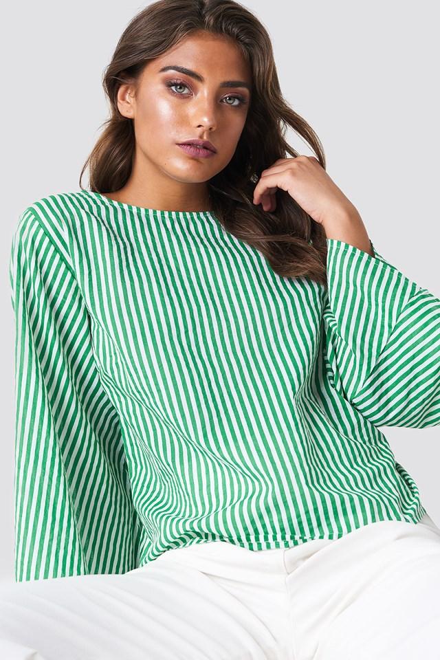 Philippa Stripe Blouse Green/White