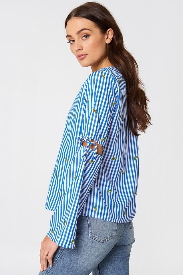 Pineapple Stripe Blouse Blue/White