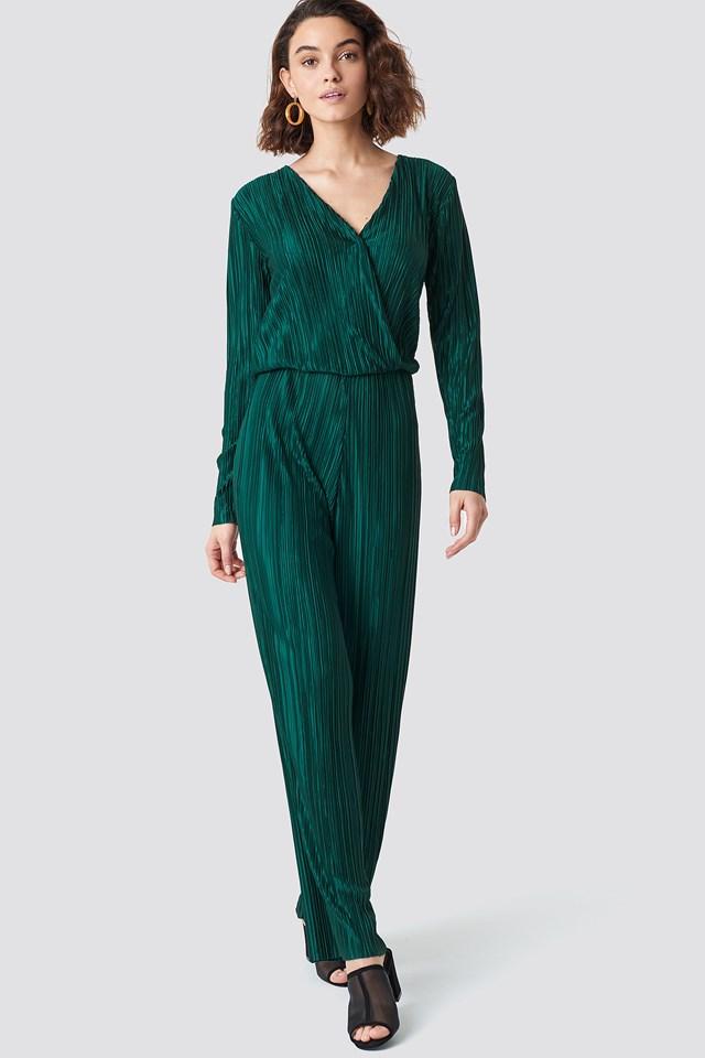 Pleated Jumpsuit Dark Green