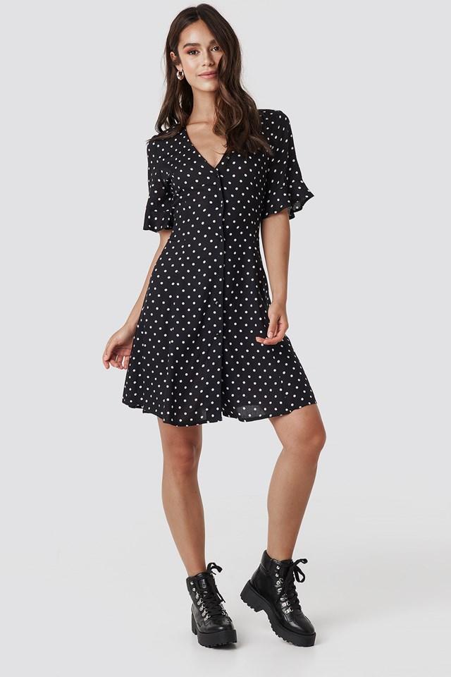 Polly Dot Dress Black/White dots
