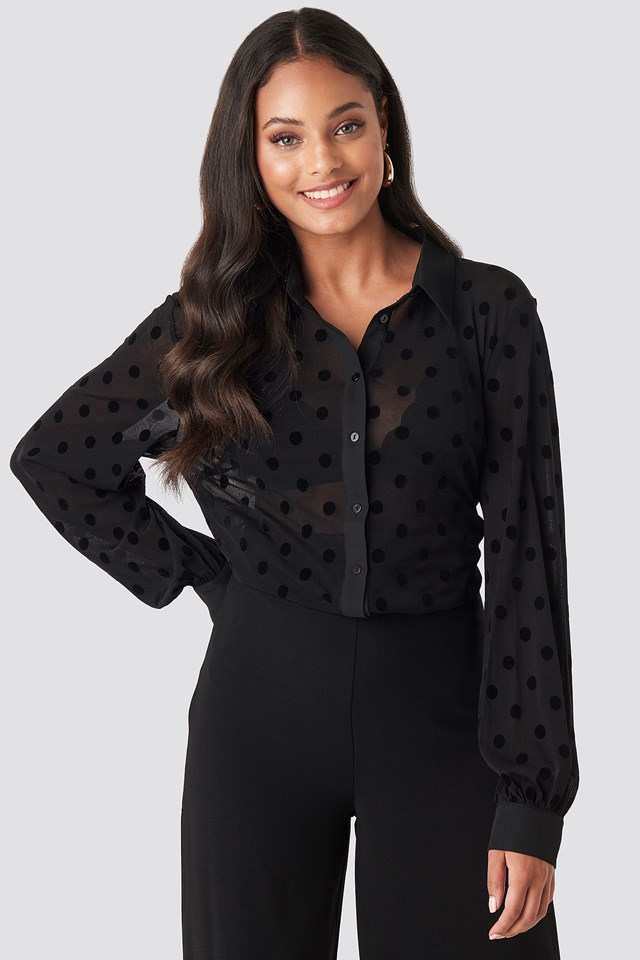 Polly Dot Shirt Black