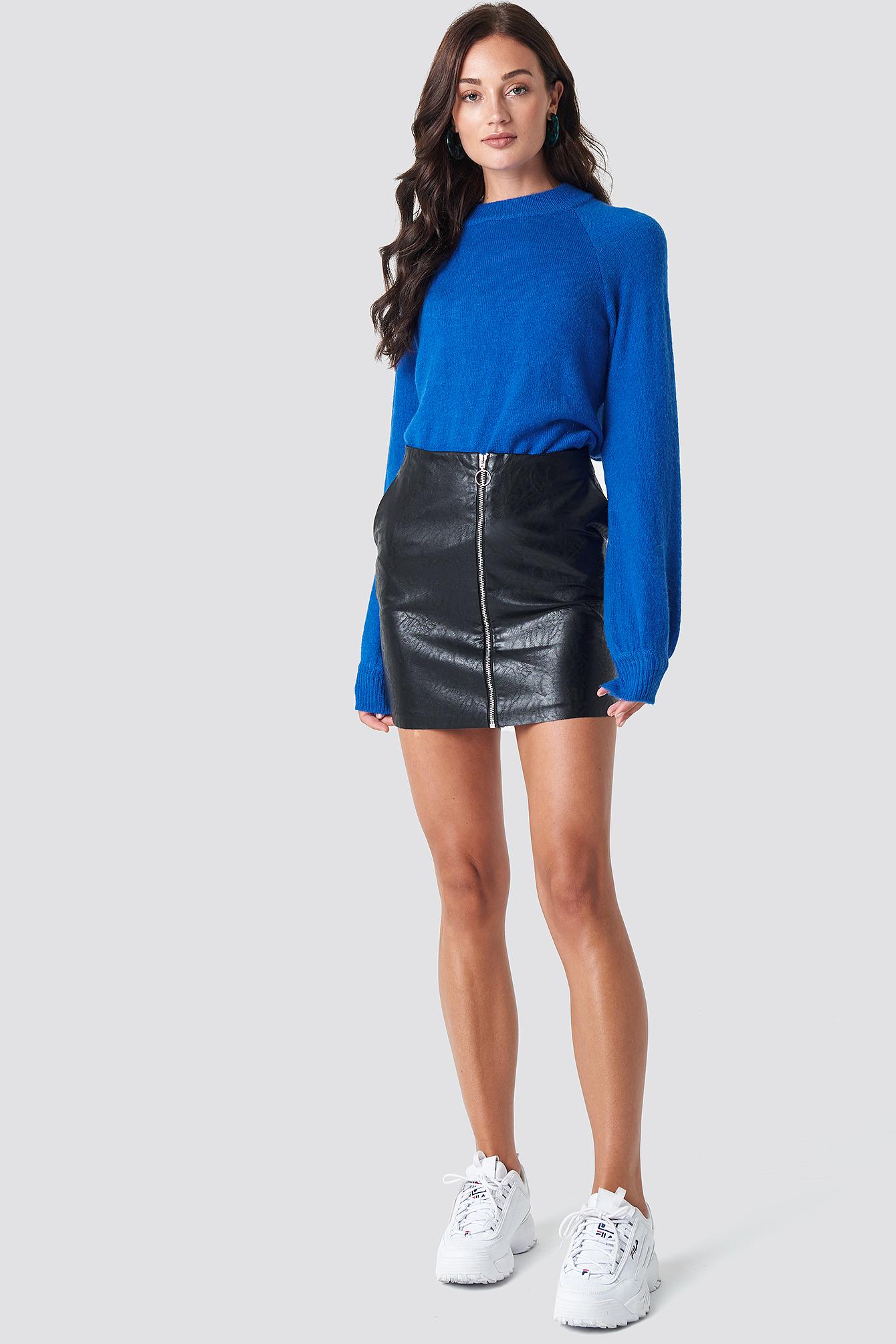 rut&circle -  Pu Zip Pocket Skirt - Black