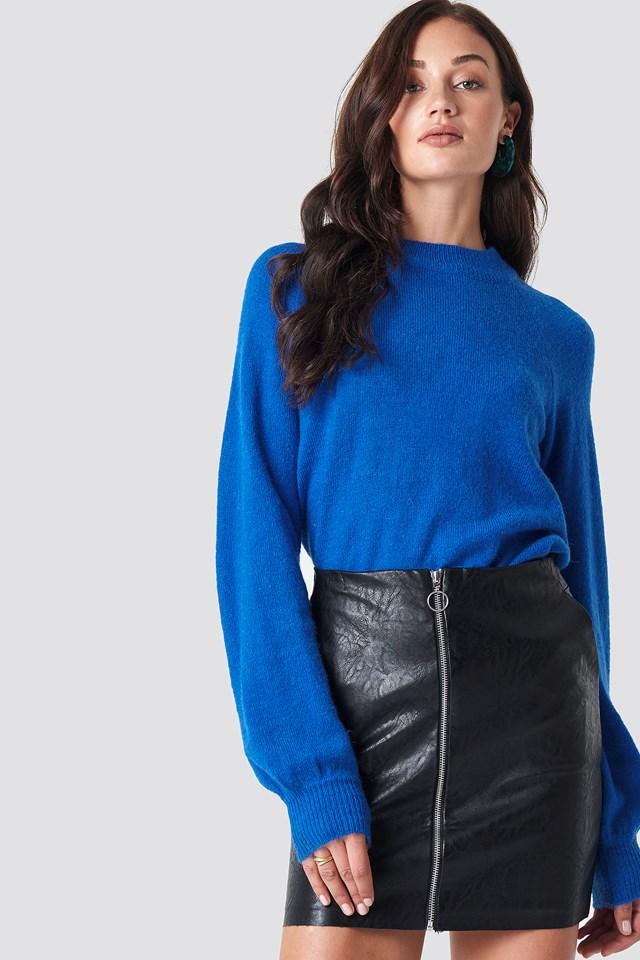 Pu Zip Pocket Skirt Black