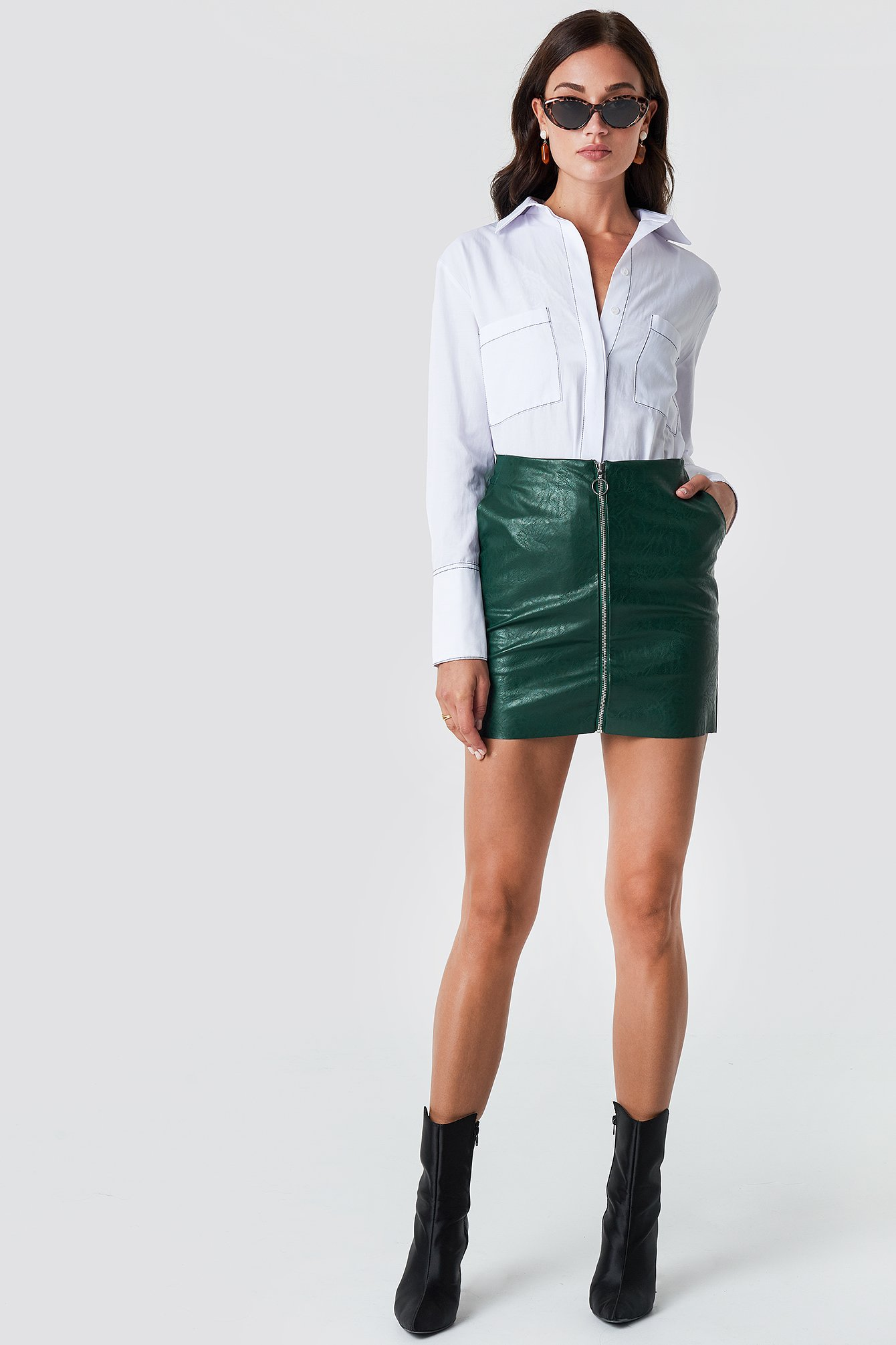 rut&circle -  Pu Zip Pocket Skirt - Green