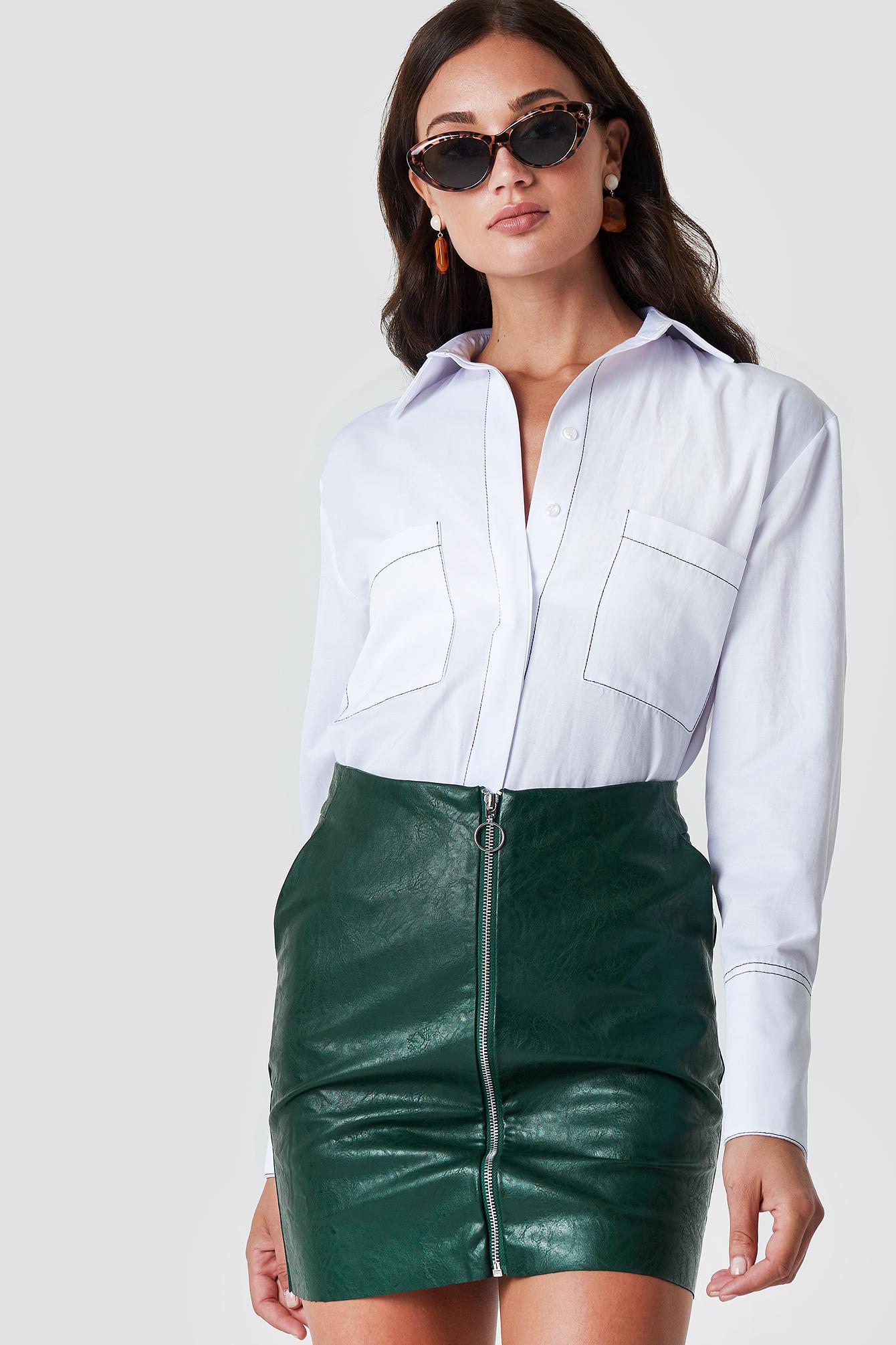rut&circle -  Pu Zip Pocket Skirt - Green