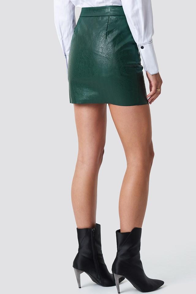Pu Zip Pocket Skirt Forest Green