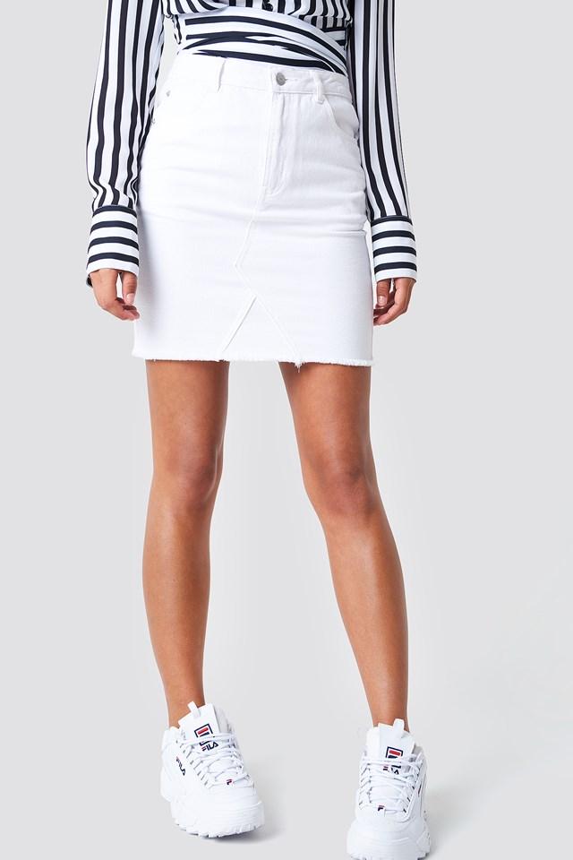 Raw Hem Skirt White