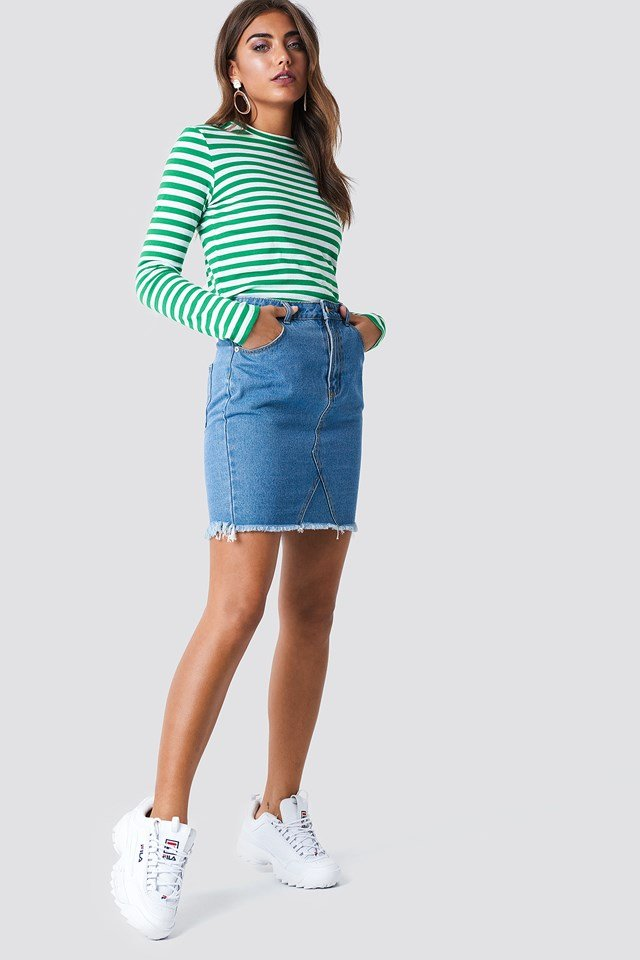 Raw Hem Skirt Blue Wash