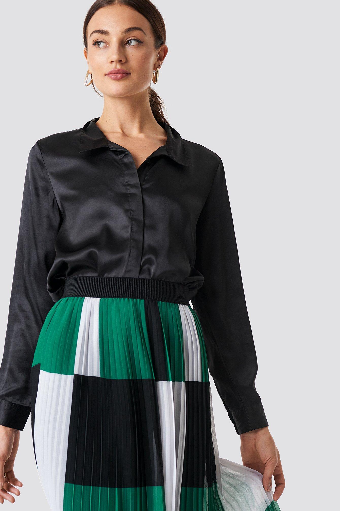rut&circle -  Rebecka satin shirt - Black