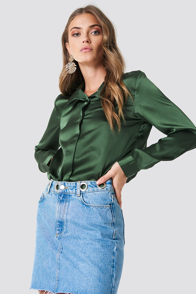 Rebecka satin shirt Dark Green