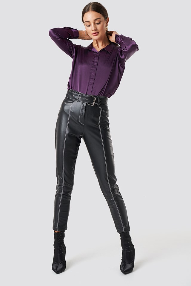 Rebecka satin shirt Dark Purple