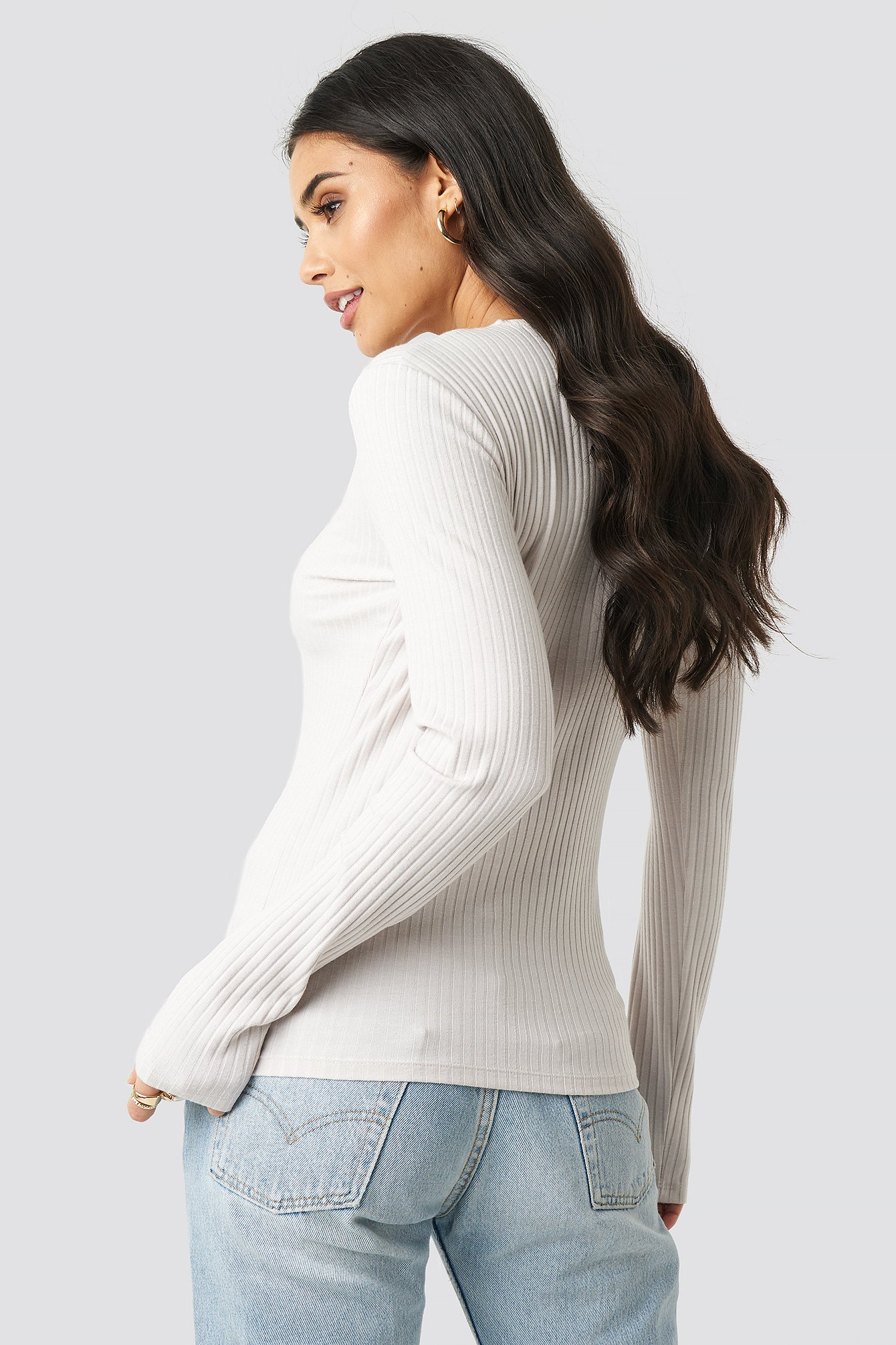 Ribbed Button LS Top NA-KD.COM