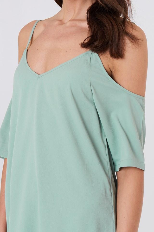 Sanna Frill Dress Green Stone