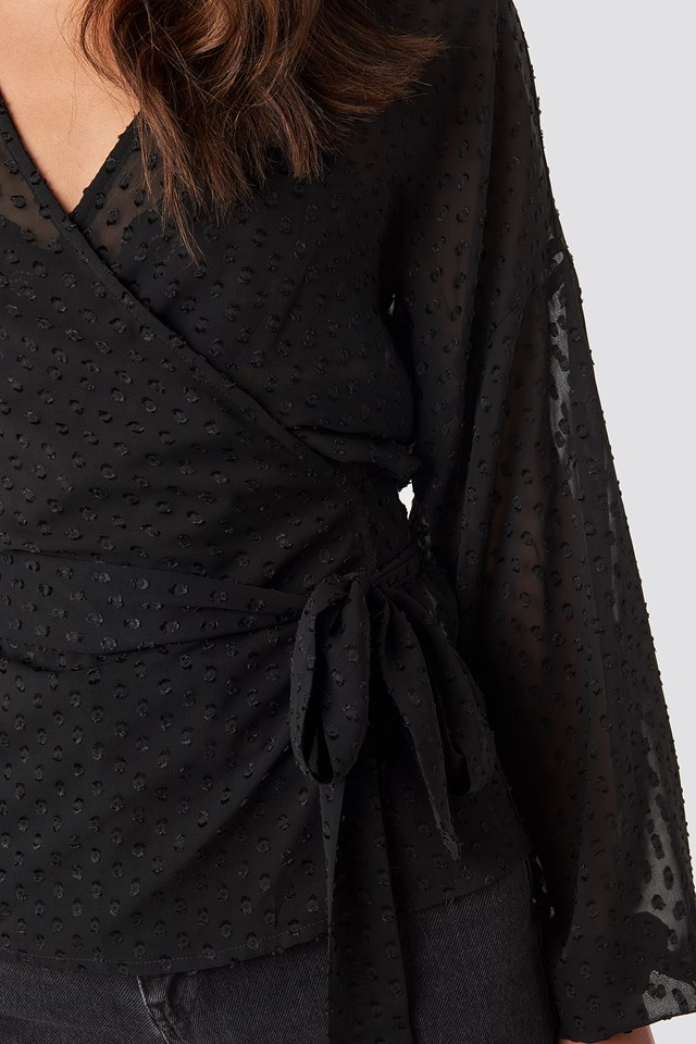 Sara Wrap Blouse Black