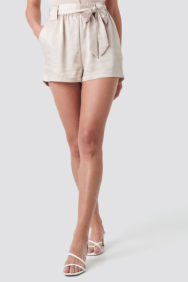 Satin Belt Shorts Sand