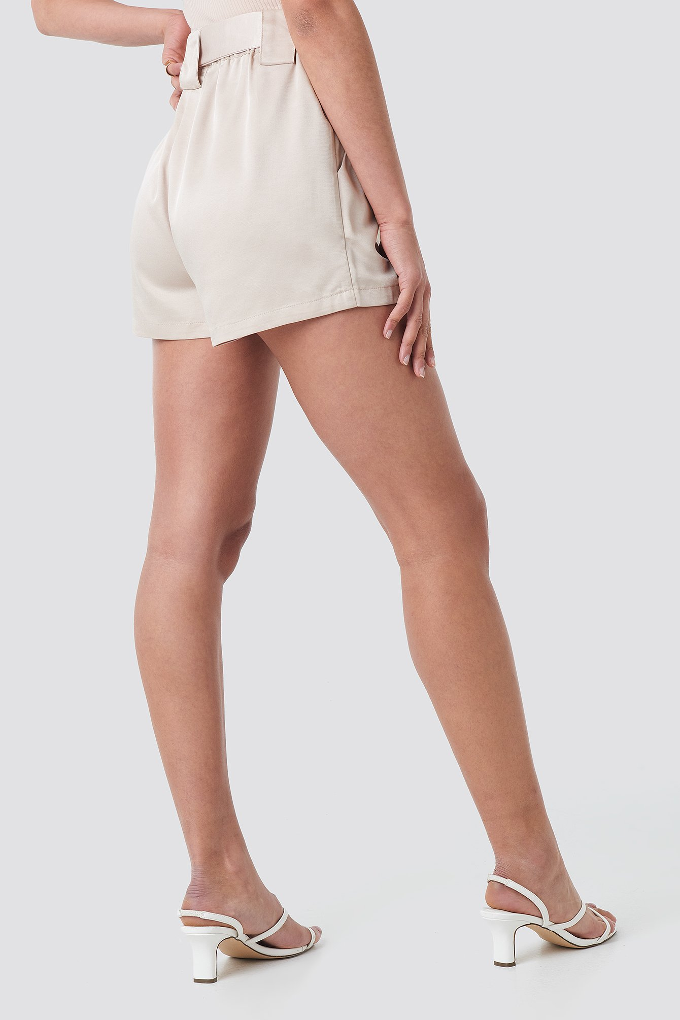 Satin Belt Shorts NA-KD.COM