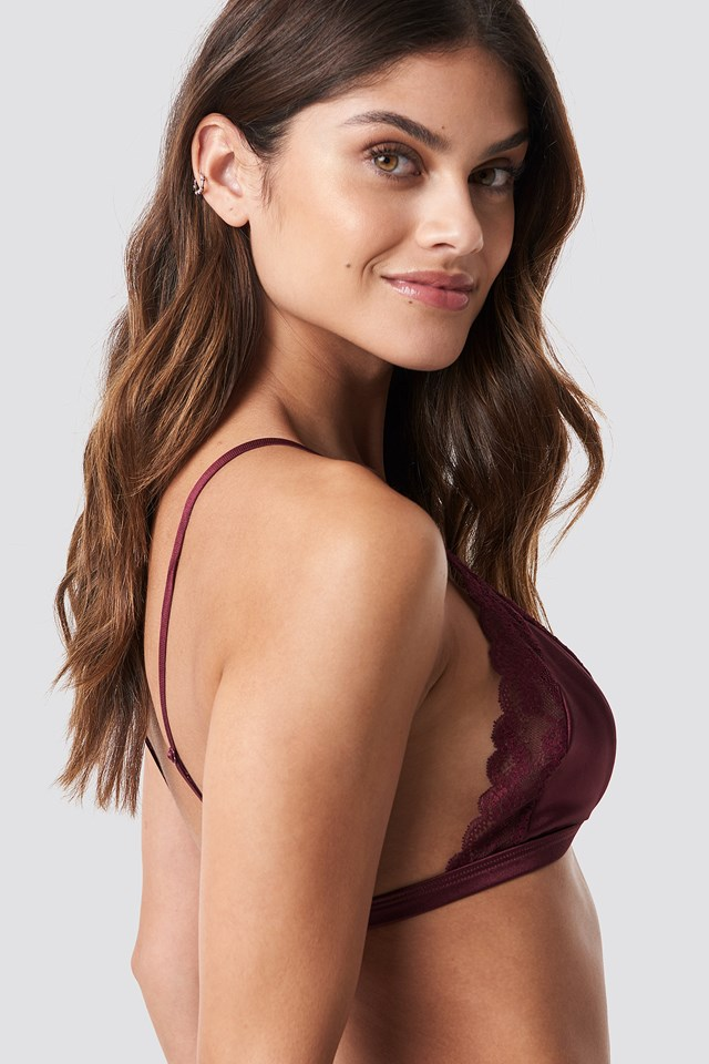 Satin Lace Bra Wine Red
