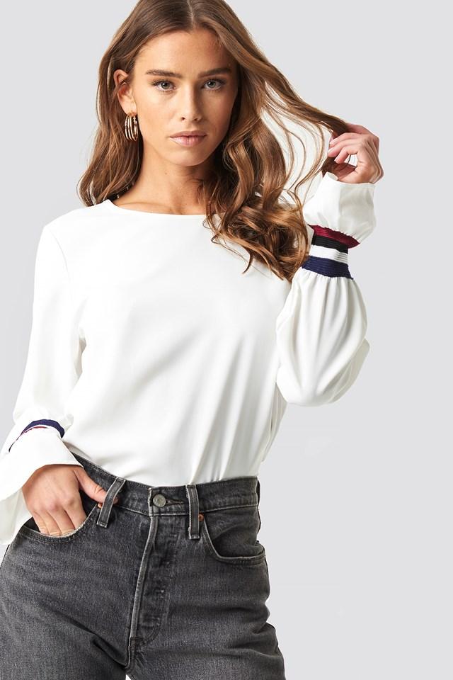 Sleeve Stripe Blouse White
