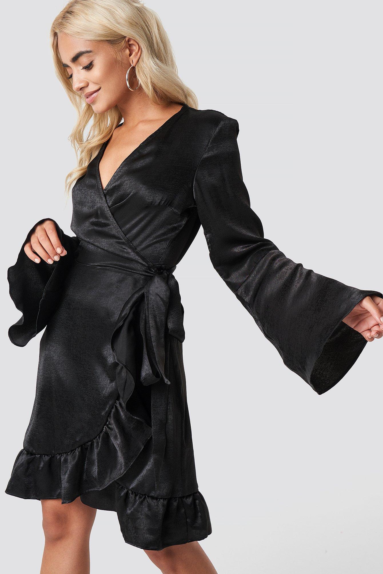 RUT & CIRCLE SOFIA WRAP FRILL DRESS - BLACK