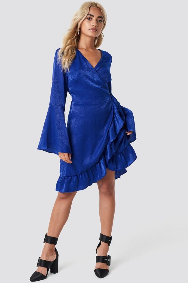 Sofia Wrap Frill Dress Cobalt Blue