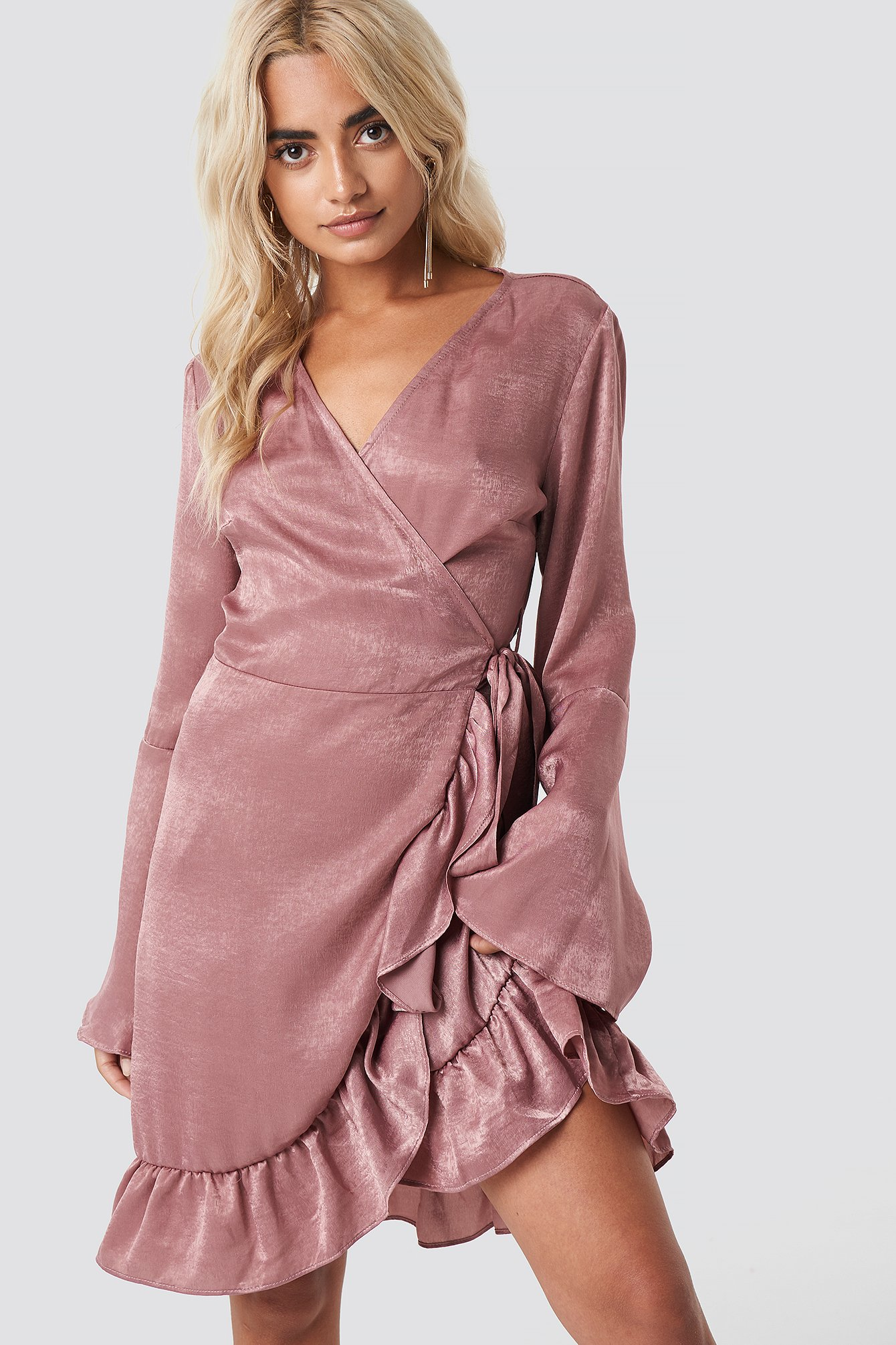 RUT & CIRCLE SOFIA WRAP FRILL DRESS - PINK