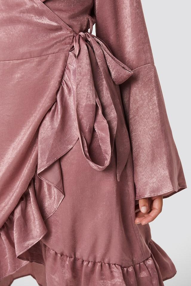 Sofia Wrap Frill Dress Old Rose