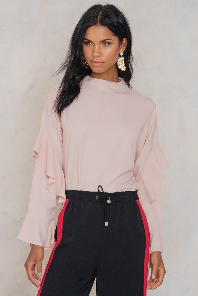 Sonya Frill Sleeve Blouse Dusty Pink