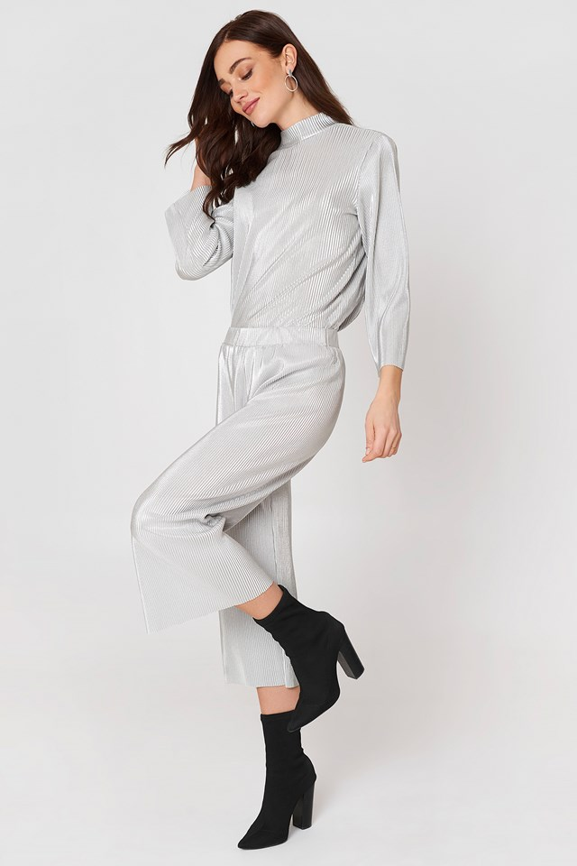 Stella Pleat Pant Silver