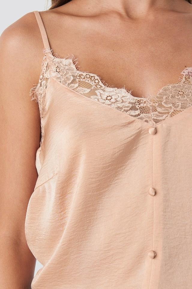 Stine Button Singlet Pastel Pink