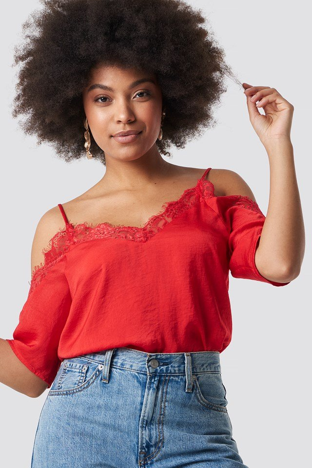 Stine Lace Blouse Red