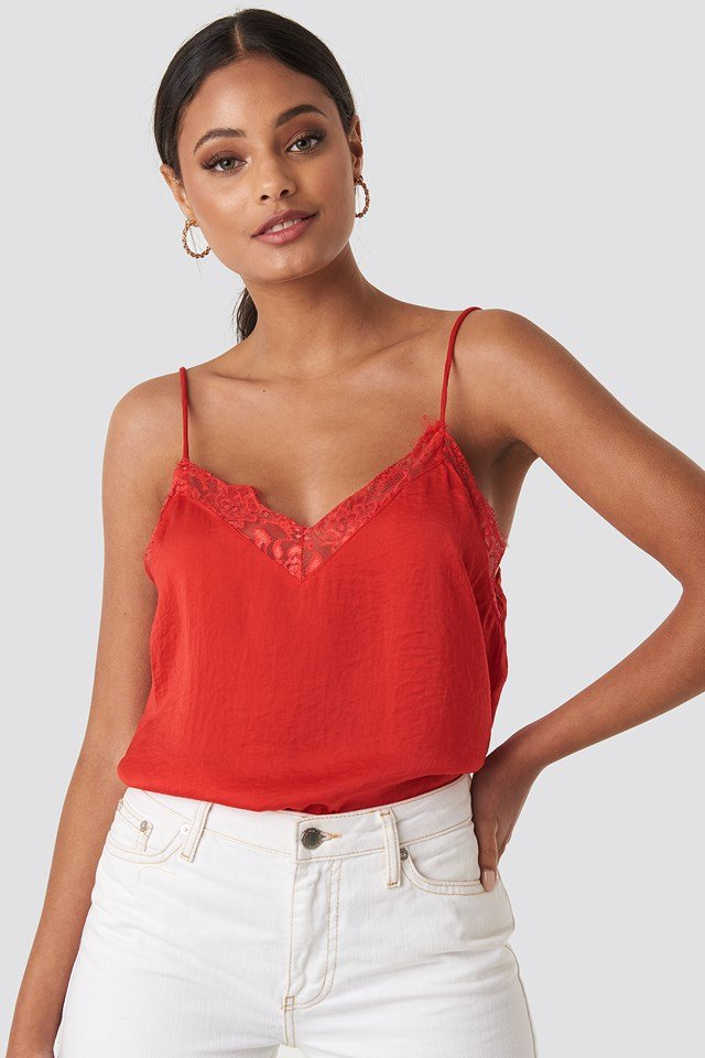 Stine Lace Singlet Red