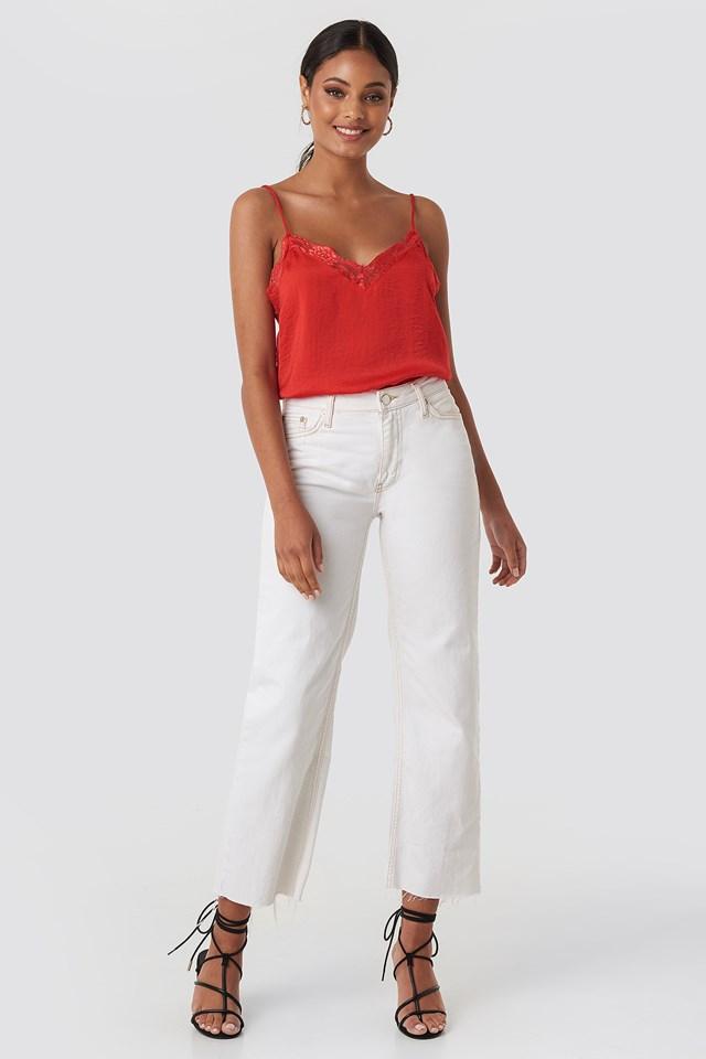 Stine Lace Singlet Red