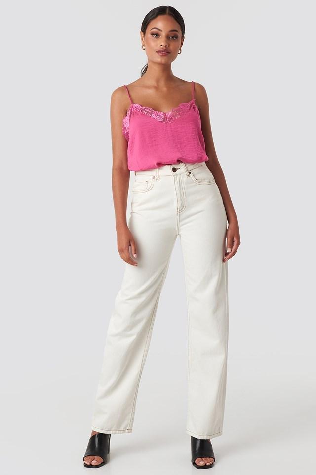 Stine Lace Singlet Hot Pink