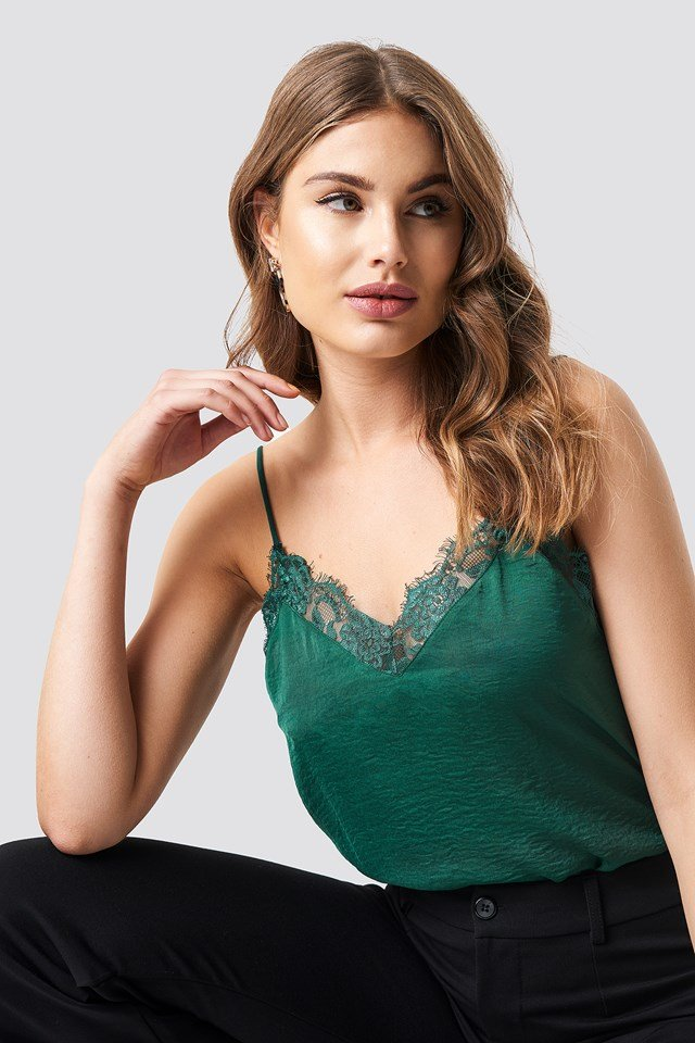Stine Lace Singlet Forest Green
