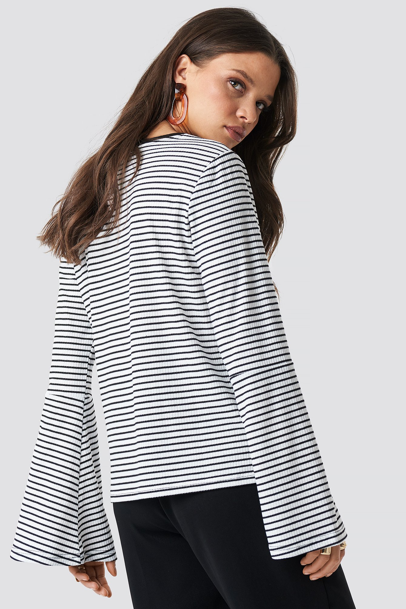 White/Black Striped Bell Sleeve Top