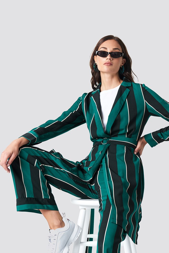 Striped Dress Jacket Green Stripe