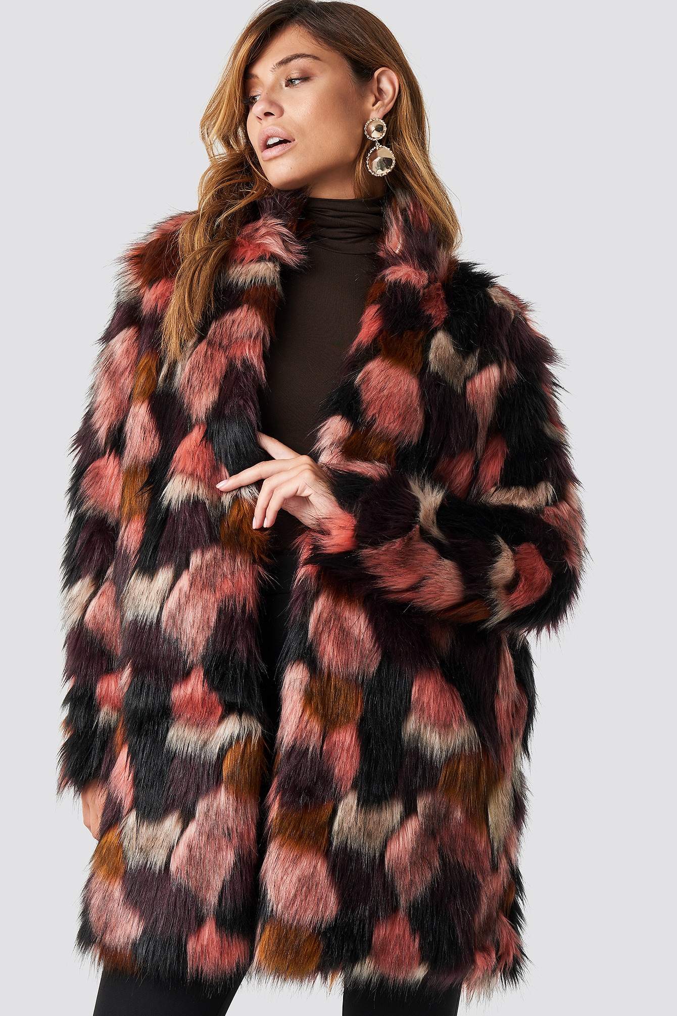 rut&circle -  Tekla Fake Fur Coat - Pink,Multicolor
