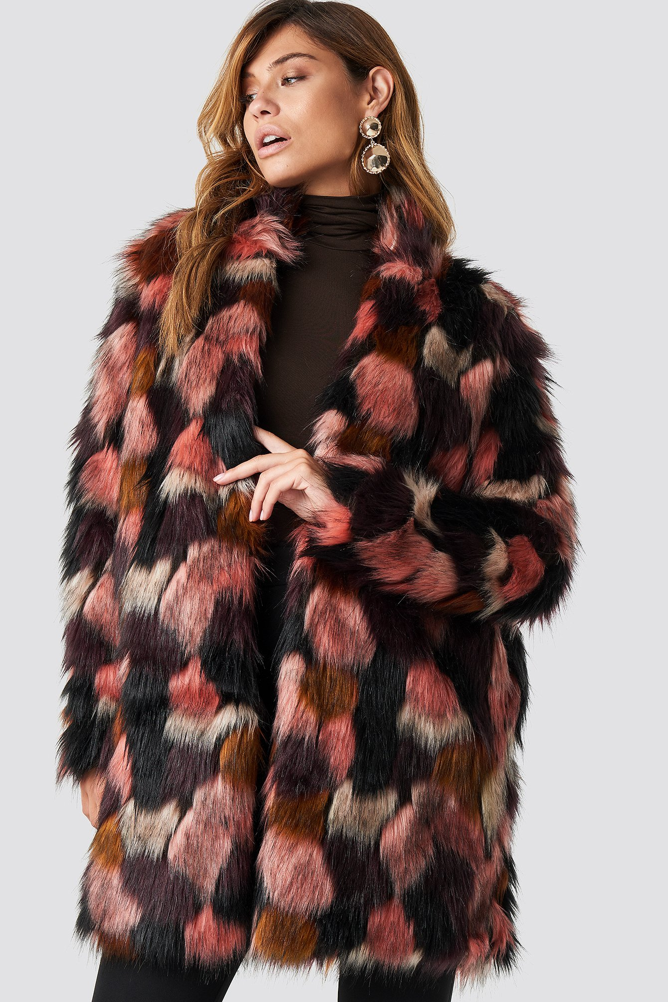 Tekla Fake Fur Coat NA-KD.COM
