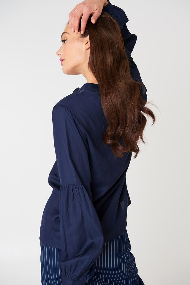 Tina Puff Sleeve Blouse DK Navy