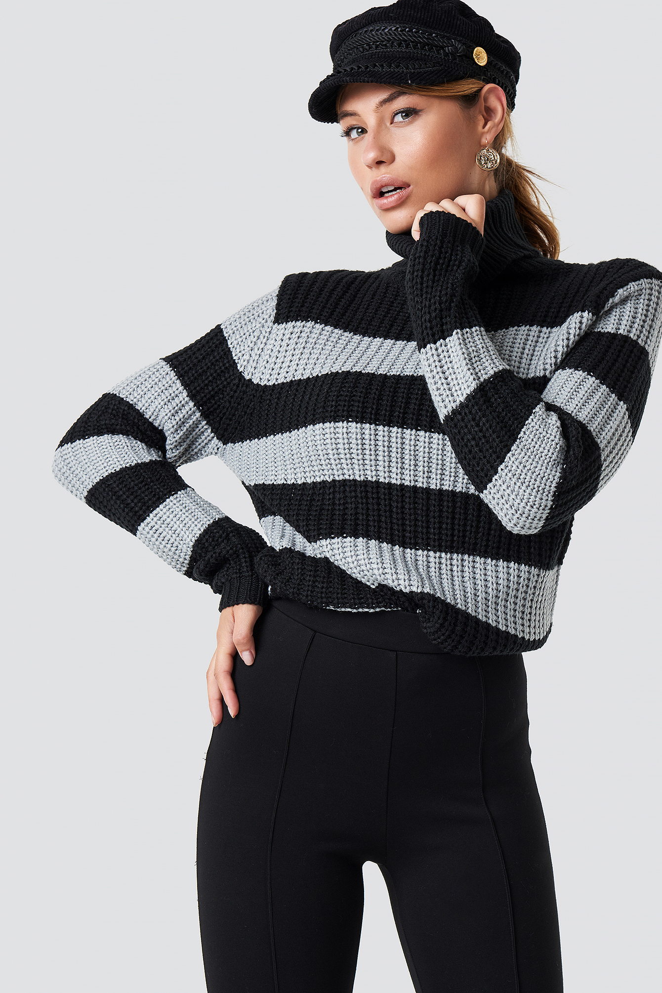 rut&circle -  Tinelle rollneck knit - Black,Grey,Multicolor