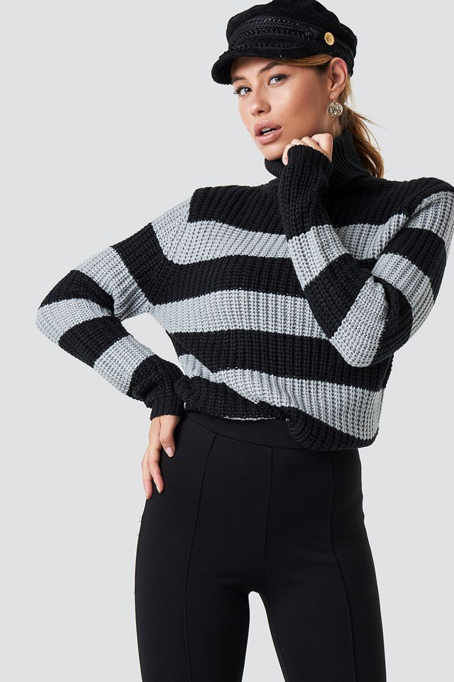 Tinelle rollneck knit Black/Grey