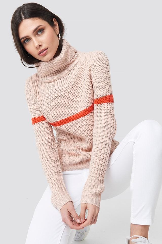 Tinelle Stripe Knit Pastel Pink