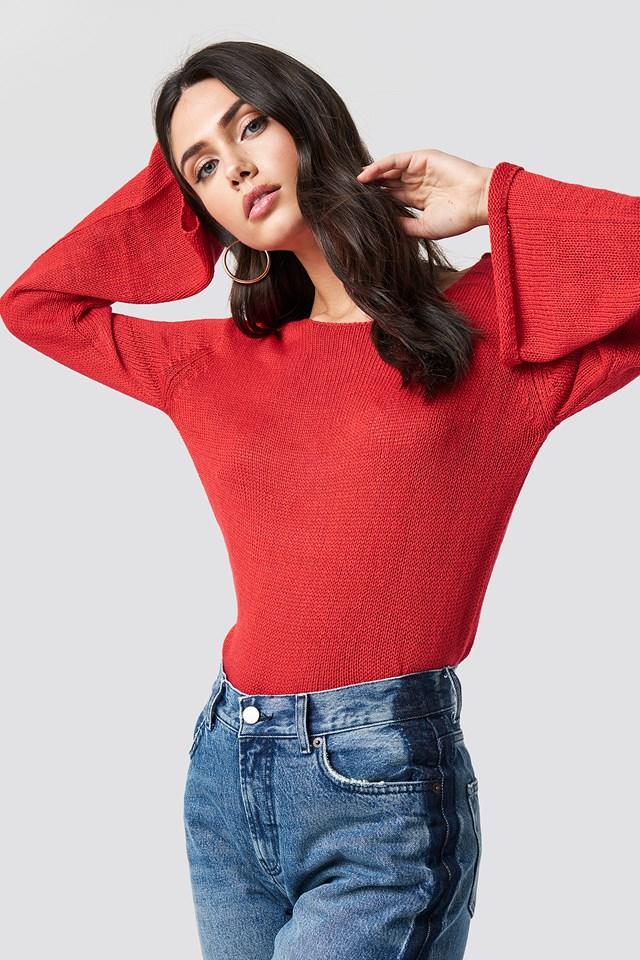 Sweter z dekoltem na plecach Vanessa Red
