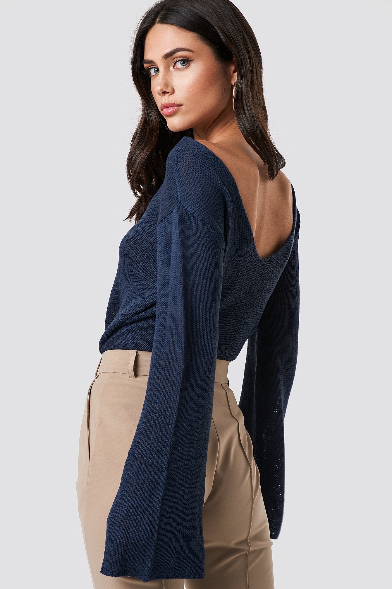 rut&circle -  Vanessa Back V-neck Knit - Blue