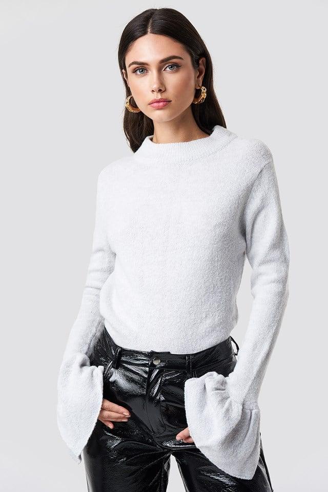 Sweter z rozszerzanym rękawem Vega Marble Grey