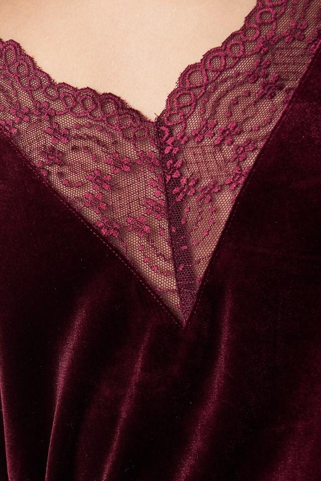Velvet Lace Singlet Wine Red
